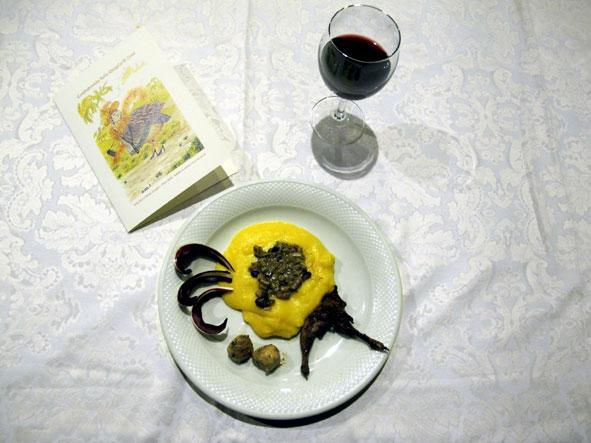 antipasto fantasia di quaglia su crema di mais